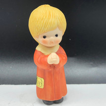 VINTAGE ENESCO CAROLER FIGURINE 1987 Christmas porcelain sculpture blond... - $17.82