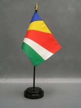 "SEYCHELLES 4X6"" TABLE TOP FLAG W/ BASE NEW DESK TOP HANDHELD STICK FLAG - $4.95"