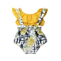 2Pcs/Set Infant Baby Girl Summer Outfits Crop Top Floral Suspender Overa... - $10.99