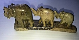Hand Carved Elephant Family Figurine Marble Stone Hand Made In India - $12.87