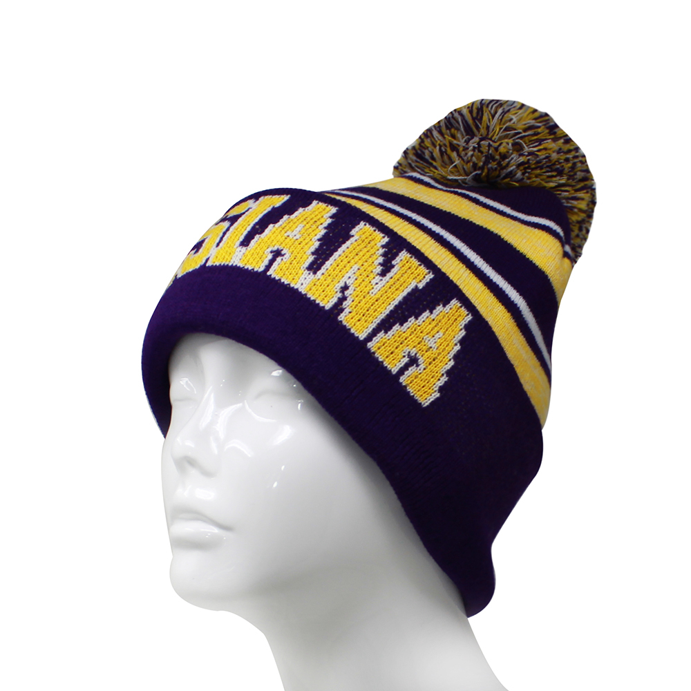 Louisiana Men's Blended Stripe Winter Knit Pom Beanie Hat (Purple/Gold) image 2