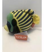 "Wild Republic Aquatic Angelfish 8"" Plush Colorful Blue Yellow Fish NEW A16 - $9.95"