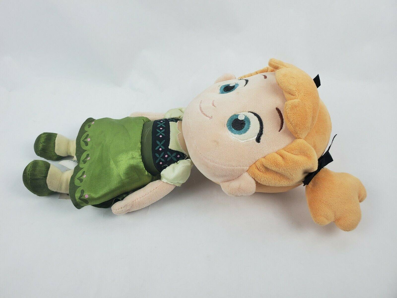 "Disney Store Frozen Toddler Anna Doll 14"" Plush Green Dress Pigtails Stuffed Toy"