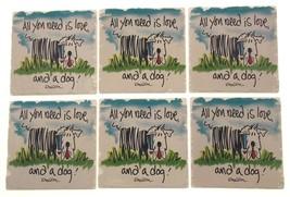 Dog Theme Tumbled Tile Coasters Set of 6 CounterArt Absorbent Stone Cork... - $3.39