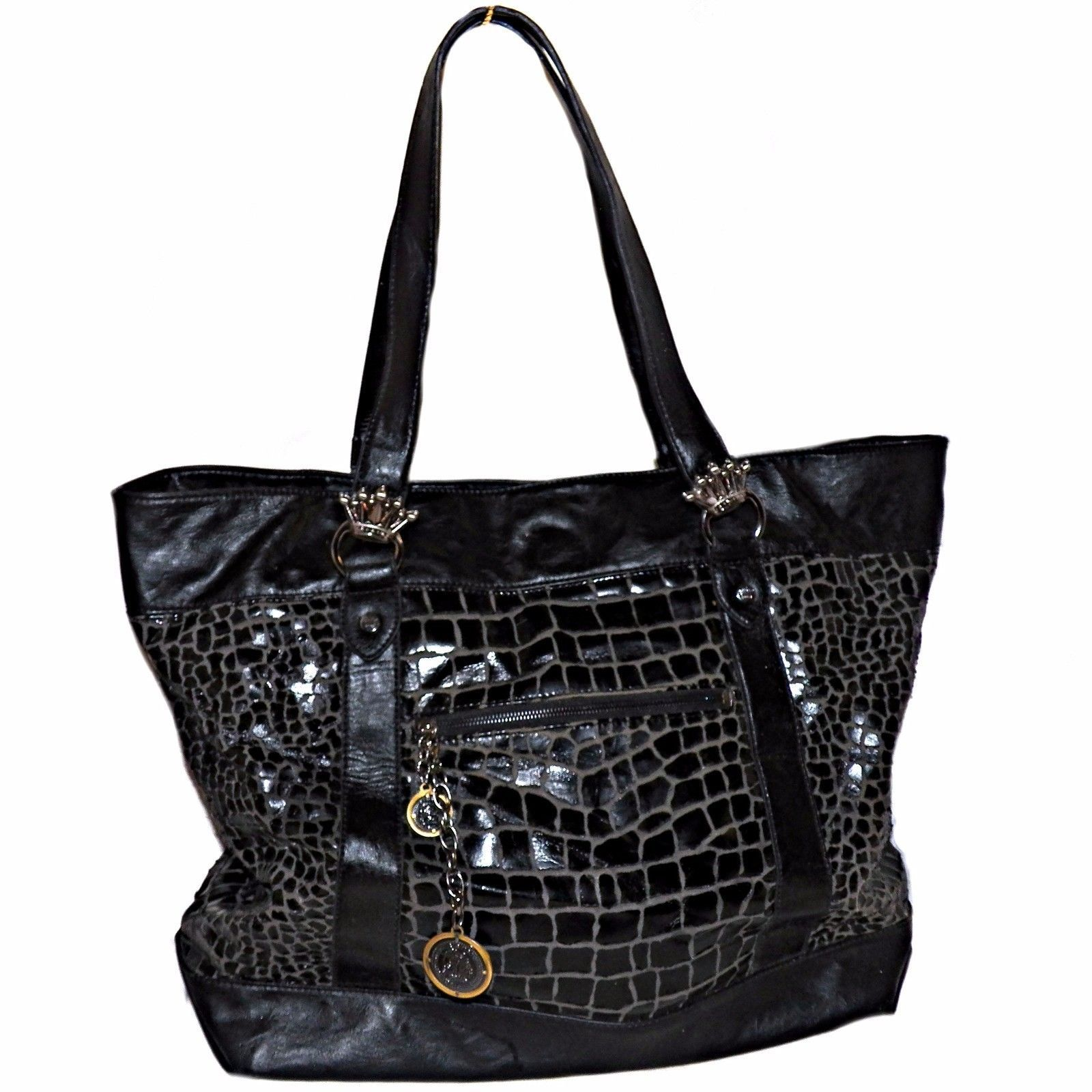 886eccfcd8df S l1600. S l1600. Previous. Christian Audigier Black Alligator Croc Print Vegan  Leather Shopper Tote Purse