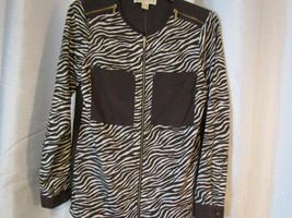 NWT Michael Kors Brown Zebra Print Top Sz XS Zipper Front Org $99.50 - $37.99