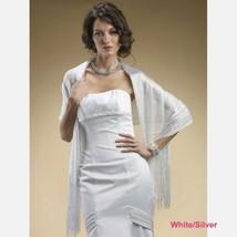 White Silver Wedding Shawl Metallic Weave Wrap Bridal Apparel Gown Bride... - €15,65 EUR