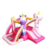 RETRO JUMP Pink Unicorn Bouncer Rainbow Princess Bounce House Slides Bou... - $294.61