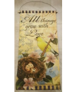 All Things Grow with Love Light Up Goldfinch Bird/Nest Wall Door Hanging Decor - $19.00