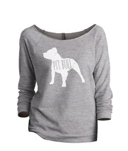 Thread Tank Pit Bull Dog Silhouette Women's Slouchy 3/4 Sleeves Raglan Sweatshir - $24.99+