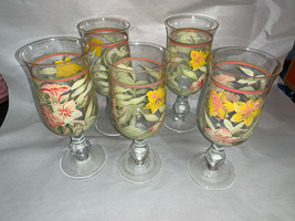 Hand Painted Wine Water Goblet Glasses Set of 5 bulb stem daffodil design - $16.65