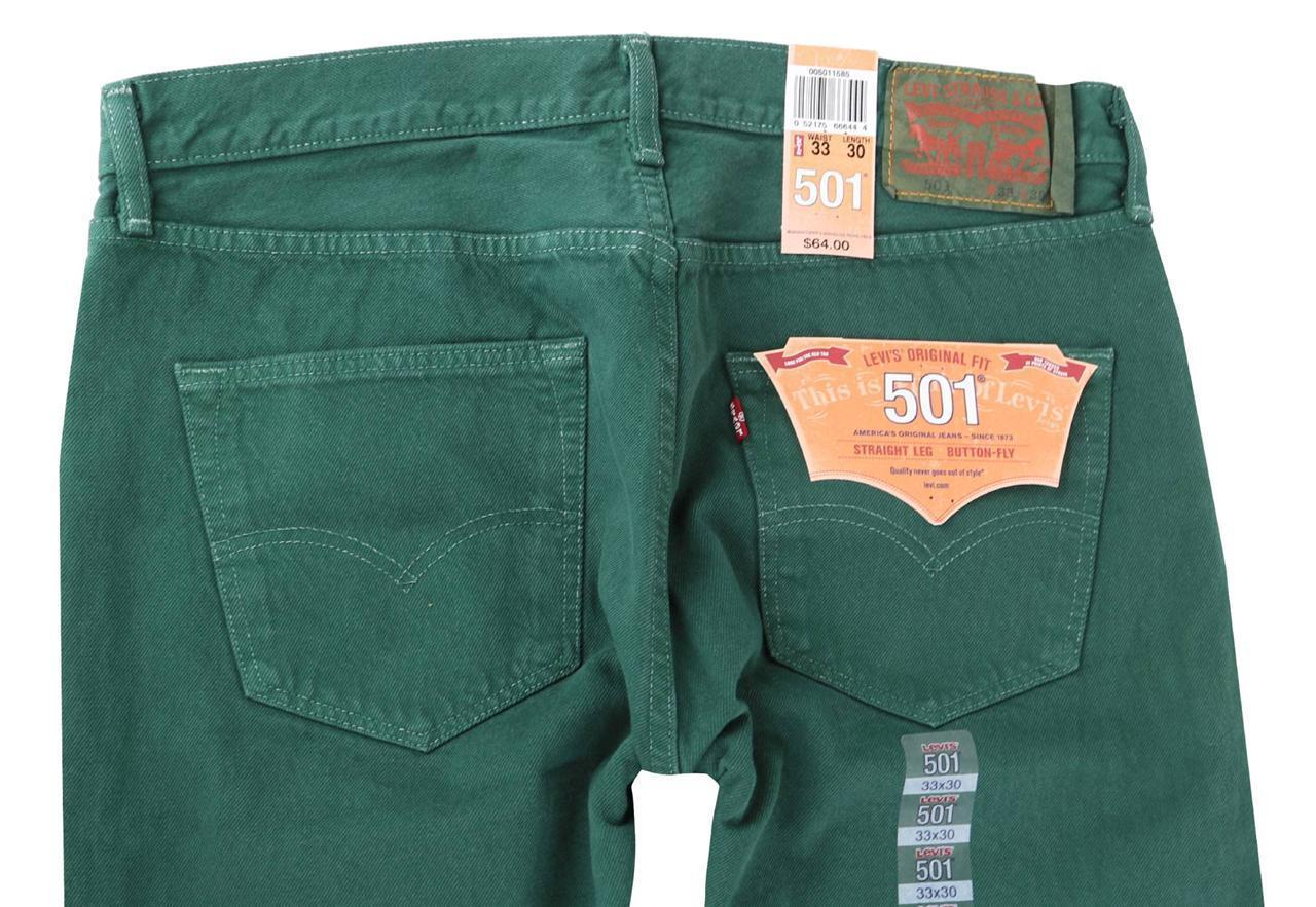NEW LEVI'S 501 MEN'S ORIGINAL FIT STRAIGHT LEG JEANS BUTTON FLY GREEN 501-1585