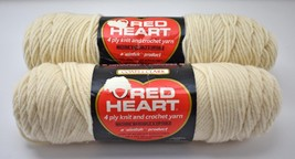 Vintage Red Heart Wintuk Orlon Acrylic 4 Ply Yarn - 2 Skeins Color Eggshell #111 - $12.30