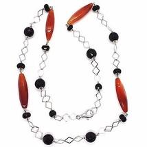 Collier Argent 925, Agate Rouge, Onyx Noir,Longue 80 CM, Chaîne Carré image 2