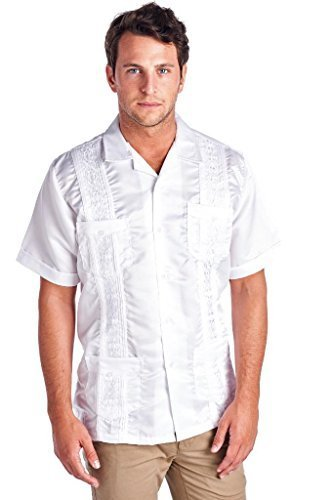 New Guayabera Men's Cuban Bartender Wedding Dress Shirt Satin (Large, White)