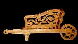 Wood wheel barrel replica with scroll cut Design AA19-1637 Vintage image 9