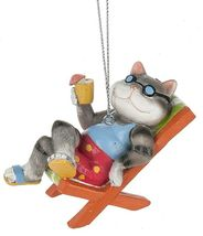 Cool Cat in Beach Chair Christmas Holiday Ornament Resin - $27.76