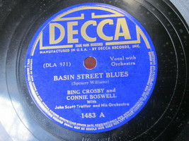 "10"" 78 rpm RECORD DECCA 1483 BING CROSBY BASIN STREET BLUES / BOB WHITE - $9.99"