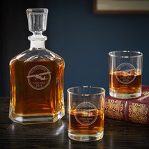 Aviator Engraved Decanter Set with Rocks Glasses - Unique Aviation Gift - $69.95