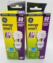 2 PACK GE Lighting 74198 Energy Smart CFL 13-watt = 60 EQUIV T3 Spiral Light  - $12.73