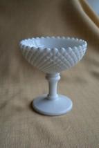 Vintage Diamond Westmoreland Milk Glass Candy Dish pedestal White - $14.50