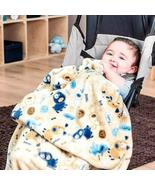 DreamPartyWorld Blue and Brown Puppies Light Baby Blanket Crib Size Soft... - $44.50