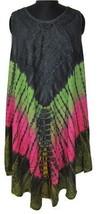 Womens Umbrella Dress~Beautiful Embroidered Bohemian Tie & Dye Midi Kaftan Dress - $15.90