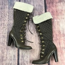 Michael Kors Leather/Quilted Lace Up Heel Boots W/ Fur Brown Womens 7.5 ... - $90.70