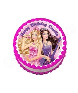 Barbie Princess and the Popstar round edible party cake topper cake image - $7.80