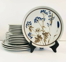 Noritake Primastone Winsome Plate Set Of 16 Stoneware Blue Brown Ferns Cat Tail - $158.40