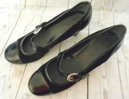 Aerosoles Black Suede & Patent Leather Slip On Pumps Mary Jane Shoes 11 M US - $18.56
