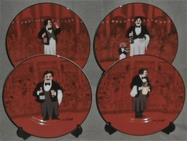 Set (4) Williams Sonoma GUY BUFFET - LES GARCONS PATTERN Salad Plates JAPAN - $39.59