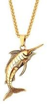 U7 Cool Swordfish Pendant 18K Gold Plated Punk Antique Necklace Men - $35.41
