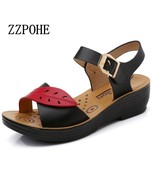 ZZPOHE 2017 Summer new middle aged soft leather mother sandals soft bott... - $27.30