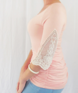 Pink Shirred Top with Lace Sleeves, Pink Ruched Top, Womens Pink Blouse ... - $39.99