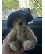 "7"" THE BOYDS COLLECTION Jointed BEAR 1988-2000 w Purple Hat Pre-owned Cute - $0.99"