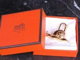 HERMES Authentic 1995 Limited Snails Cadena Padlock Bag Charm Gold Color... - $319.99
