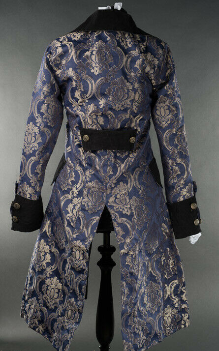 Blue Brocade Gothic Victorian Officer Jacket Steampunk Long Pirate Princess Coat
