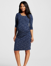 Liz Lange Maternity Blue Space Dye Scoop Neck 3/4 Sleeve T-Shirt Dress S... - $19.34