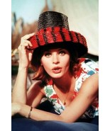 Senta Berger in colorful dress and black straw hat 4x6 inch real photograph - $4.75