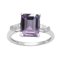 Tapered Baguette White Topaz 925 Sterling Silver Engagement Ring Amethyst - $25.64