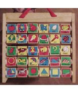 Kids ABC Alphabet Pictures Wooden Blocks Hanging wooden Stand - £14.62 GBP