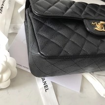 NEW AUTHENTIC CHANEL 2018 BLACK CAVIAR SMALL DOUBLE FLAP BAG GHW RARE image 4