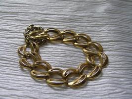 Vintage NAPIER Signed Two Open Goldtone Crescents Link Bracelet w Safety... - $7.78