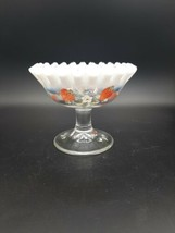 Vintage Fenton Hand Painted Strawberries Ruffled Rim Footed Compote   - $18.00