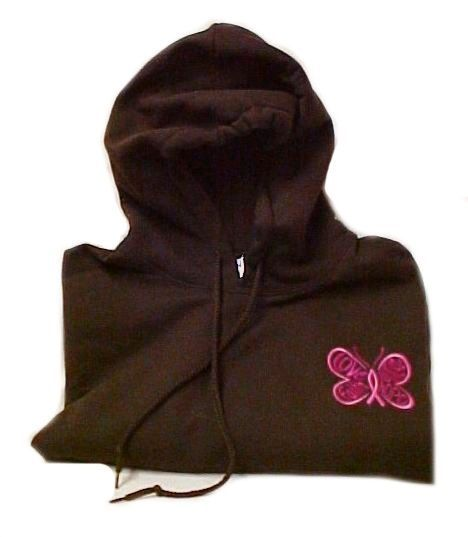Pink Ribbon Sweatshirt M Awareness  Butterfly Hoodie Brown Breast Cancer New