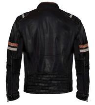 Cafe Racer Vintage Retro Biker Distressed Black Motorcycle Leather Jacket image 2