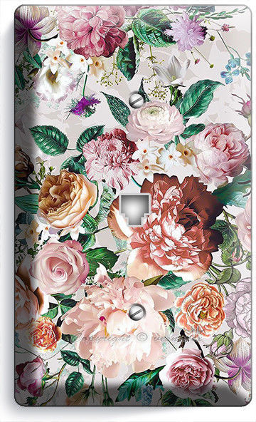 VICTORIAN FLORAL PATTERN ROSES PEONIES PHONE TELEPHONE WALL PLATE COVER HD DECOR