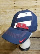 Nike Dri-Fit Ole Miss Track Hat Ball Cap Size M / L Flex Fit - $19.34