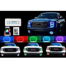14-16 Gmc Sierra Multi-Color Changing Led Rgb Headlight Halo Rings Bluetooth Set - $99.95